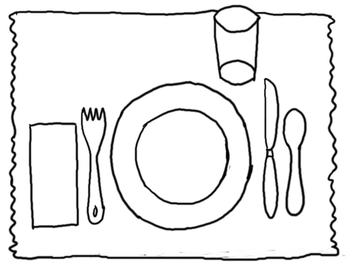coloring pages of place setting - photo#11